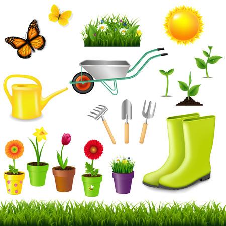Gardening Tools With Gradient Mesh, Vector Illustration