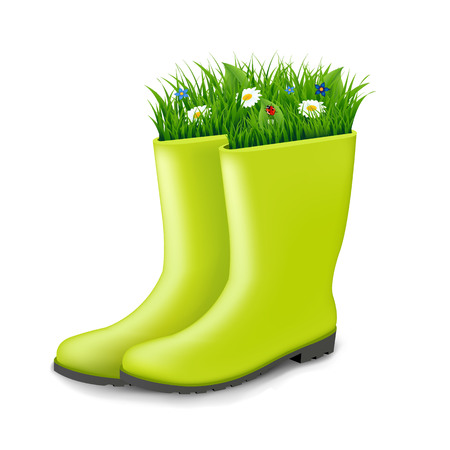 gumboots: Gumboots With Grass With Gradient Mesh, Vector Illustration
