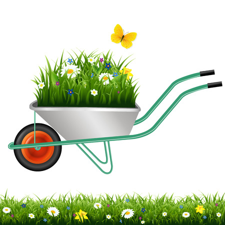Garden Wheelbarrow And Grass With Flowers With Gradient Mesh, Vector Illustration