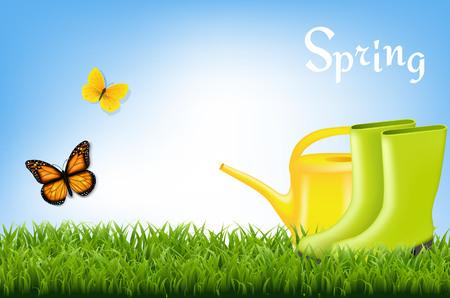 Spring Banner With Gradient Mesh, Vector Illustration Illustration