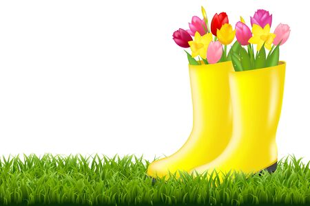 Gumboot With Green Grass And Tulips With Gradient Mesh, Vector Illustration