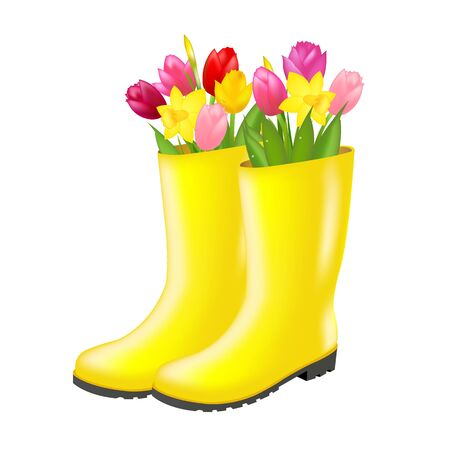 Rain boot With Tulip With Gradient Mesh, Vector Illustration Illustration