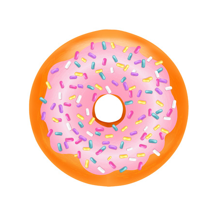 Donut With Gradient Mesh, Vector Illustration Illustration