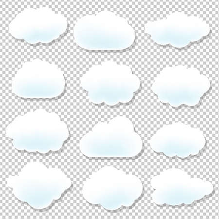 arts symbols: Cloud Icons With Blue Background With Gradient Mesh, Vector Illustration Illustration