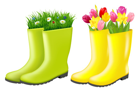 gumboots: Gumboots Set With Grass And Flowers With Gradient Mesh, Vector Illustration Illustration