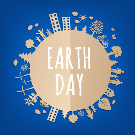 Earth Day Postcard With Gradient Mesh, Vector Illustration