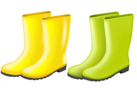 Rainboots Set With Gradient Mesh, Vector Illustration