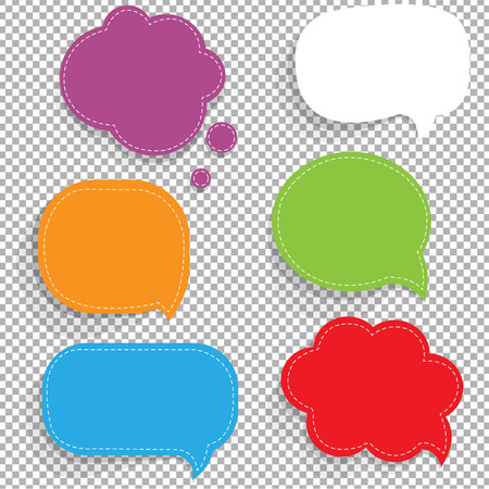 Color Paper Speech Bubbles Set Gradient Mesh, Vector Illustration