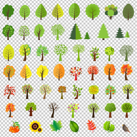 Big Nature Set With Trees Gradient Mesh, Vector Illustration