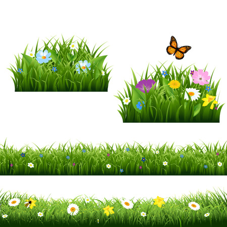 Summer Flowers With Butterfly Gradient Mesh, Vector Illustration Illustration
