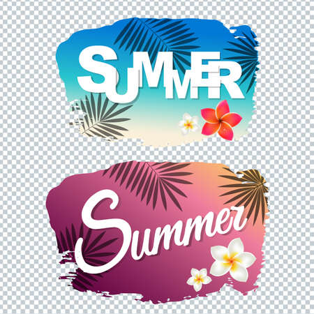 panels: Summer Text With Blot Gradient Mesh, Vector Illustration