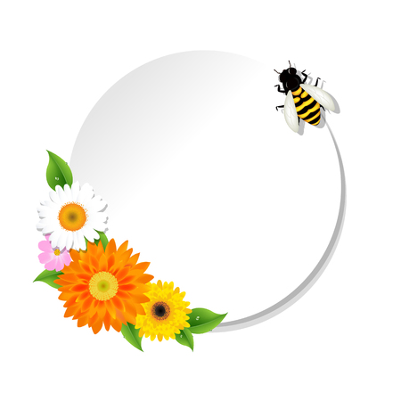 gerbera daisy: Honey Background And Bee And Banner , Vector Illustration