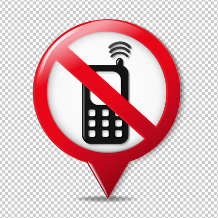 No Cell Phone Sign Gradient Mesh, Vector Illustration