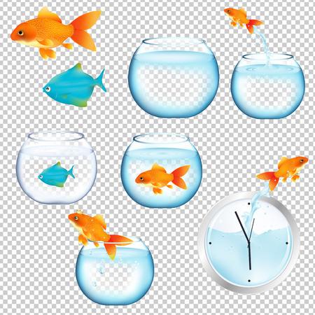 Fish And Aquariums Gradient Mesh, ilustración vectorial