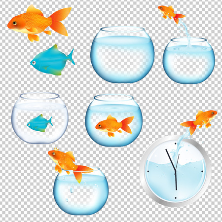 Fish And Aquariums Set Gradient Mesh, Vector Illustration