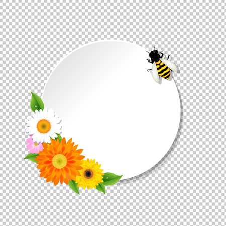 Honey Background And Bee And Banner Gradient Mesh, Vector Illustration Illustration