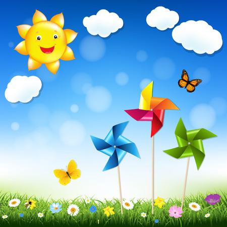 windmill toy: Summer Illustration Gradient Mesh, Vector Illustration Illustration
