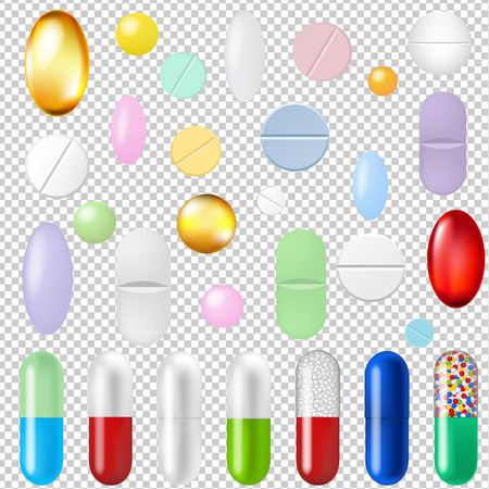 Pills Set Transparent Background Gradient Mesh, Vector Illustration Zdjęcie Seryjne - 80882939