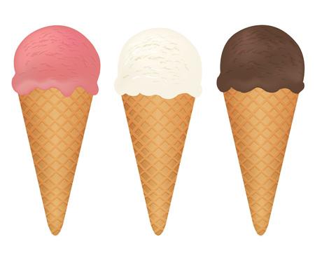 Set de crème glacée, Illustration vectorielle, avec filet de dégradé