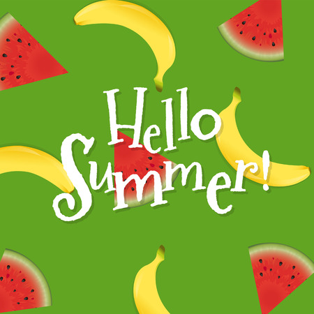 Summer Poster With Banana And Watermelon  Vector Illustration
