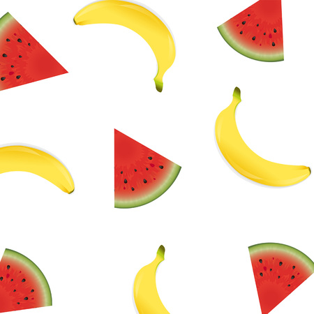 rind: Poster With Banana And Watermelon Vector Illustration