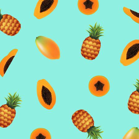 Papaya with pineapple illustration.