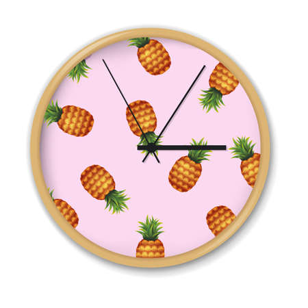 Clock With Watermelon Pattern, Vector Illustration, With Gradient Mesh