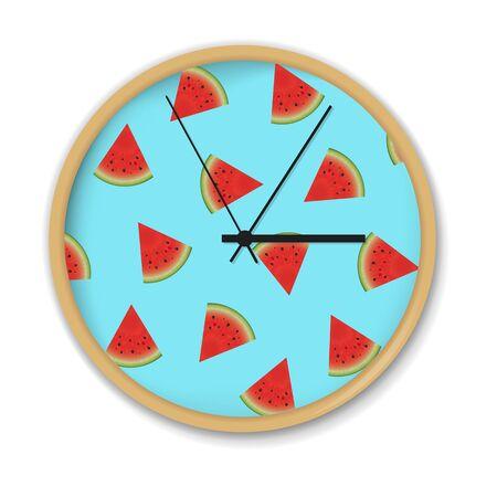 puntualidad: Reloj con patrón de sandía, ilustración vectorial, con malla de degradado