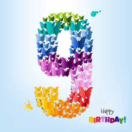 Happy Birthday Card Nine Years Gradient Mesh, Vector Illustration.