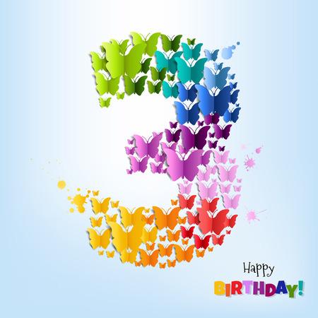 Feliz cumpleaños postal Tres años degradado de malla, ilustración vectorial Foto de archivo - 85318108
