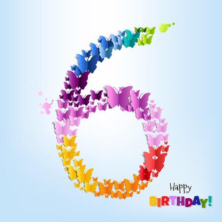 six objects: Happy Birthday Six Years Postcard Gradient Mesh, Vector Illustration