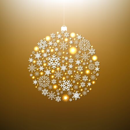 Christmas Gold Ball With Gradient Mesh, Vector Illustration