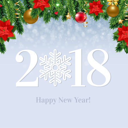 2018 Happy New Year  Card With Gradient Mesh, Vector Illustration
