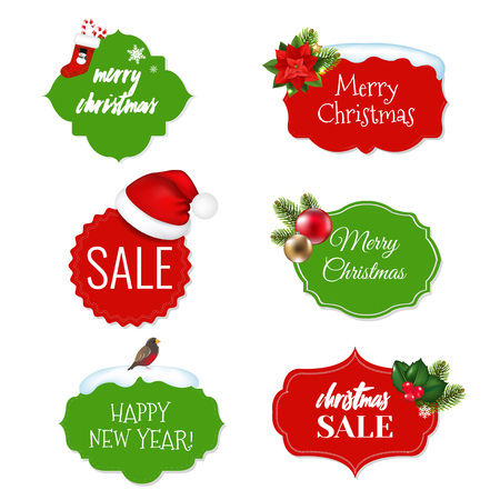 Xmas Vintage Labels Set With Gradient Mesh, Vector Illustration