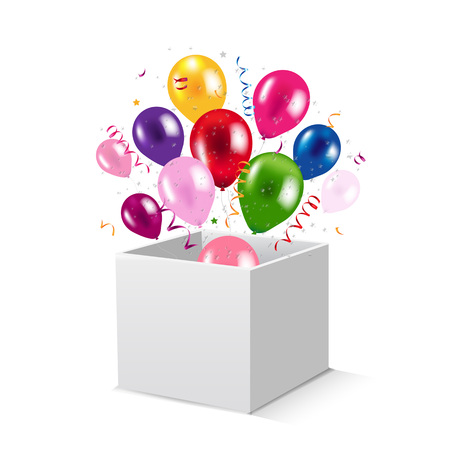 Box And Balloons With Gradient Mesh, Vector Illustration Illustration