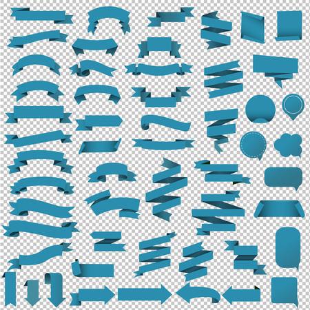 青い Web リボン セット、ベクトル イラスト