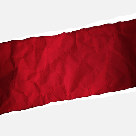 Crumpled Red Paper With Gradient Mesh, Vector Illustration Illustration