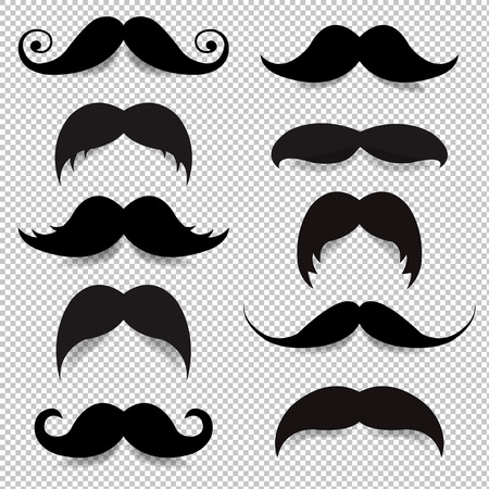 Mustache Big Set Transparent Background With Gradient Mesh, Vector Illustration Ilustração