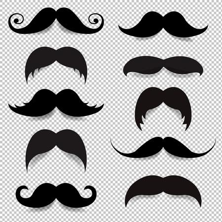 Mustache Big Set Transparent Background With Gradient Mesh, Vector Illustration Stock Illustratie