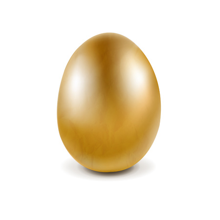 Golden Egg Isolated With Gradient Mesh, Vector Illustration