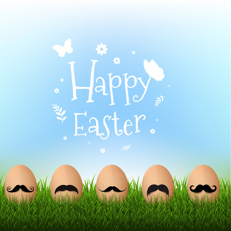 Grass Border With Mustache Easter Card With Gradient Mesh, Vector Illustration