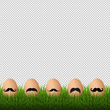Grass Border With Mustache With Gradient Mesh, Vector Illustration Ilustração