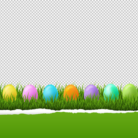 Happy Easter Border Transparent Background With Gradient Mesh, Vector Illustration