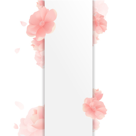 Border With Flowers And White Background With Gradient Mesh, Vector Illustration