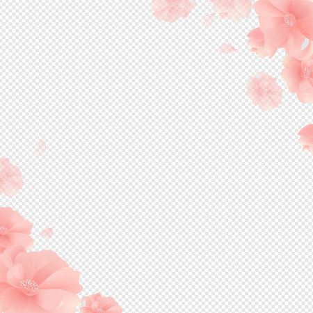 Border With Flowers And Transparent Background With Gradient Mesh, Vector Illustration 向量圖像