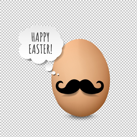 Happy Easter Card Transparent Background With Gradient Mesh, Vector Illustration