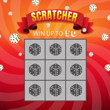 Ticket kras en win met verloopnet, vectorillustratie Vector Illustratie