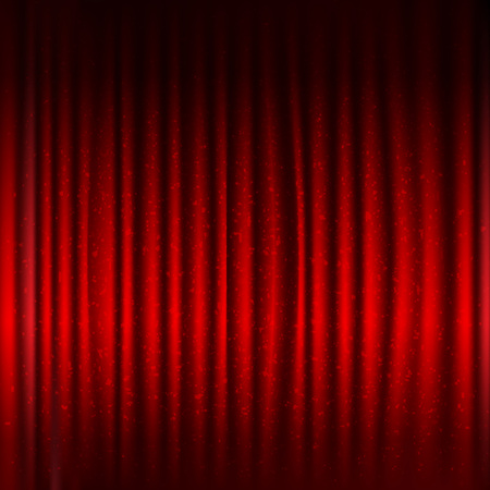 Red Stage Curtain With Black Border And Glitter With Gradient Mesh, Vector Illustration