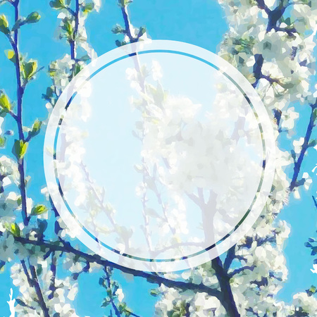 Spring Banner With Apple Flowers, Vector Illustration  向量圖像