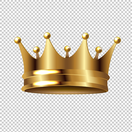 Golden Crown Isolated Transparent Background With Gradient Mesh, Vector Illustration